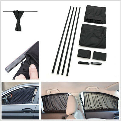 2 Pcs Upgraded Version Adjustable Shrinkable Car Autos Side Window Curtains 50cm
