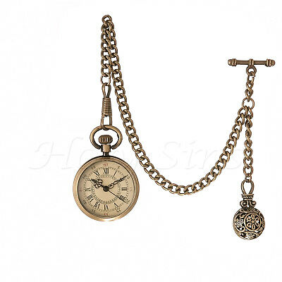 Fathers, Daddy Day Gift ANTIQUE DESIGN QUARTZ POCKET WATCH WITH ALBERT CHAIN