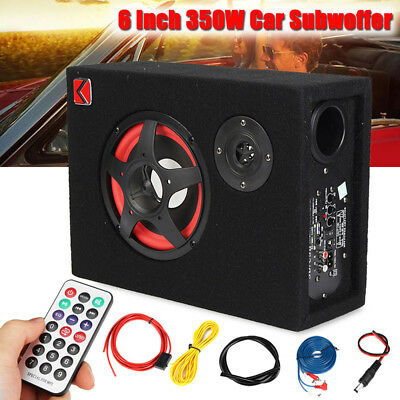 Under-Seat 6'' 350W Car Active Subwoofer Speaker Stereo Bass Audio Powered Amp