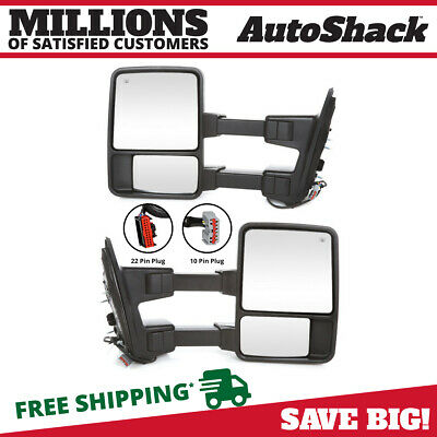 Pair (2) Power Heat Extending Signal Side Mirror For 08-16 Ford F-250 Super Duty