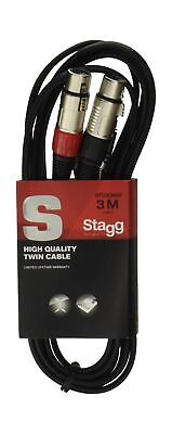 Stagg 25018317 3 m S Series Twin RCA Male to Twin XLR Female Cable NEW