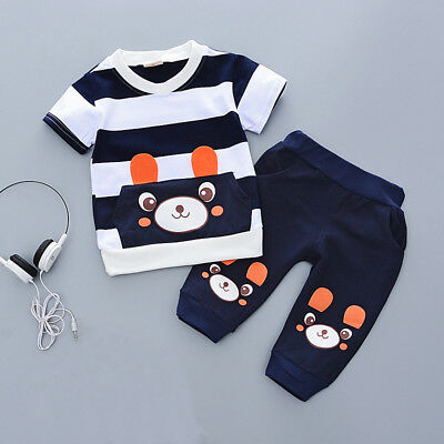 Toddler Kids Baby boys summer Outfits Clothes T-shirt& short Pants 2PCS Set bear