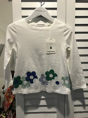 Country Road Girl Top Flower Tee Great With Jacket Coat New Sz 3