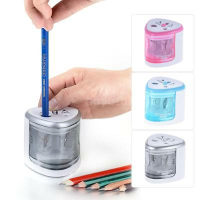 Electric Automatic Pencil Sharpener Dual Hole Battery Operated School Stationery