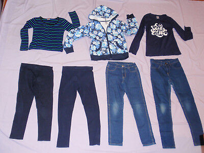 Bulk Size 10 Girls Zip Hoody JACKET 2 Denim JEANS, 2 Blue TOPS, 2 Navy Leggings