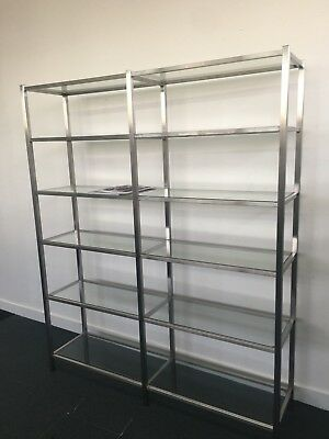 Modern stainless steel and glass bookcase needs a new home, make me an offer!