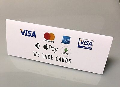 IZETTLE / CREDIT CARDS SIGNS - WE TAKE CARDS Visa Amex Mastercard Apple Pay logo