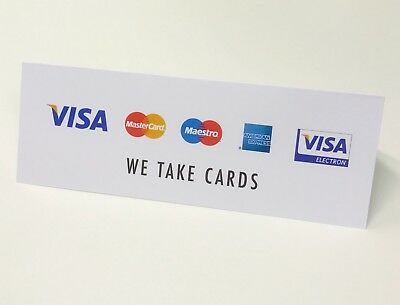IZETTLE / CREDIT CARDS SIGNS - WE TAKE CARDS Visa Amex Mastercard