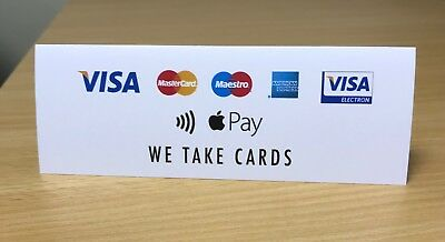 IZETTLE / PAYPAL CREDIT CARD SIGNS - WE TAKE CARDS Visa Amex Mastercard Apple