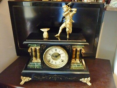 Fineantique Sessions AmericainEbonised Case Striking Mantle Clock