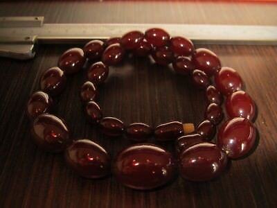 Vintage Cherry Amber Bakelite Bead Necklace Tested 31.1Gr