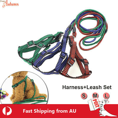 Extra Strong Adjustable Harness Leash Set  Dog Pet Puppy Lead Rope Clip S M L