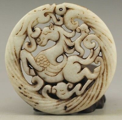 Chinese old natural jade hand-carved dragon and horse pendant 2.7 inch