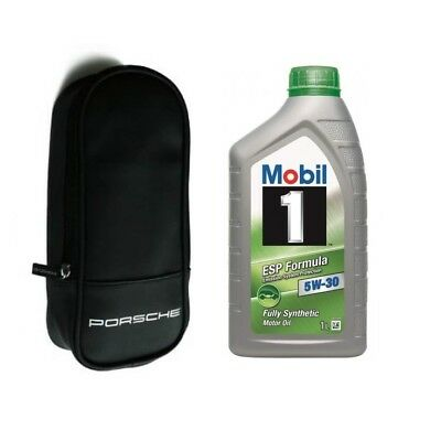 Genuine Porsche Oil Top Up Bag & Mobil 1 ESP Formula 5W-30 Fully Synthetic 1L