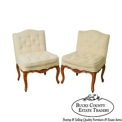 French Louis XV Style Custom Pair of Vintage Slipper Chairs