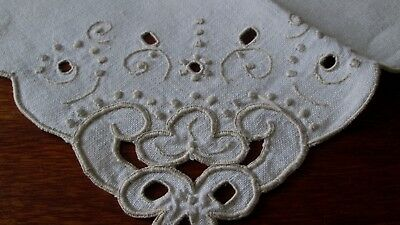 """antique set of 4 linen napkins w elaborate taupe embroidery+cutwork, 16.5"""" sq,"""