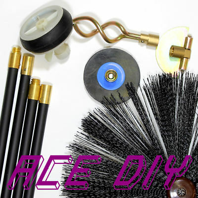 Drain Rod System Set | Plunger Scraper Plug Worm Screw Rods Chimney Sweep Brush