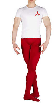 Men's Ballet Supplex-Lycra Tights M-size (long). Burgundy/Dark Red, with feet