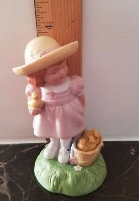 Avon Figurine Limited Edition Easter 1985: Girl in Easter Outfit with Baby Chics