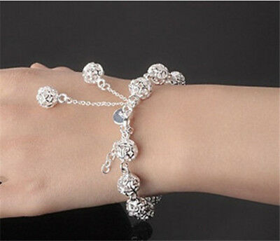 NEW XMAS Gift GIRL Jewelry SOLID 925 Silver Hollow Peanut Hull Bracelet@86