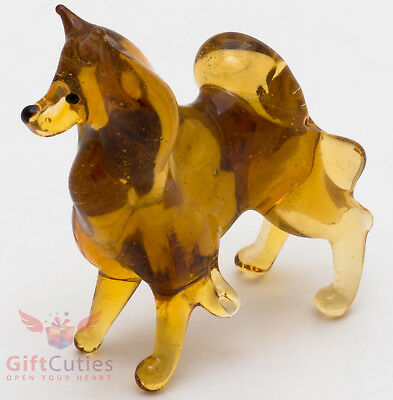 Art Blown Glass Figurine of the Pomeranian Spitz dog