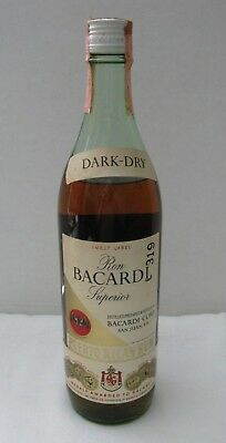 Vintage Ron Bacardi Superior Puerto Rican Dark-Dry Rum Bottle With Tax Stamp