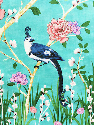 Border Chinese fabric, Chinoiserie Michael Miller, blue birds oriental asian