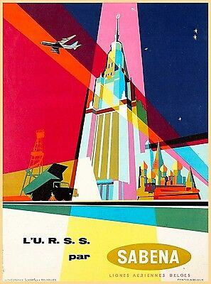 Sabena Belgium Europe Vintage Airline Airlines Travel Advertisement Poster Print