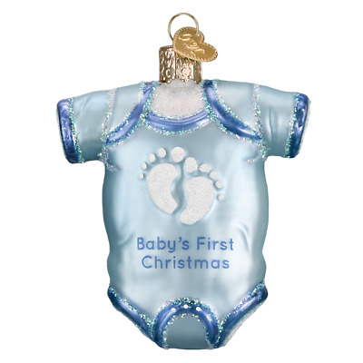 """Blue Baby Onsie"" (32339)X Old World Christmas Glass Ornament w/ OWC Box"