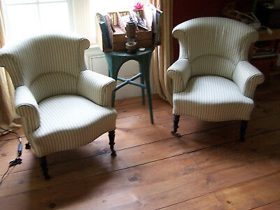 antique french arm chairs original Napoleon III upholstery refurbished