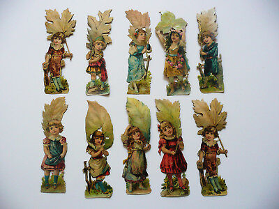 Lot Chromos Decoupis Enfants Portant Une Grande Feuille D' Arbre 11 Cm