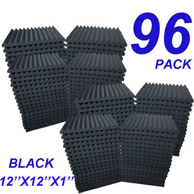 """96 Pack Acoustic Foam Panel Wedge Studio Soundproofing Wall Tiles 12""""x12""""x1"""" USA"""