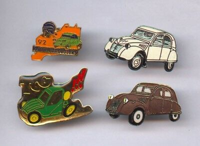 Lot de 4 Pin's Automobile CITROËN 2 cv Rallye et autres