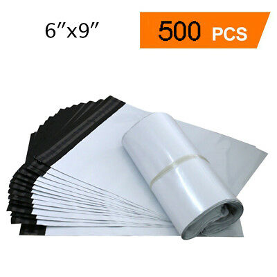 500 6x9 Poly Mailers Shipping Envelopes Self Sealing White Plastic Bags 2.5 Mil