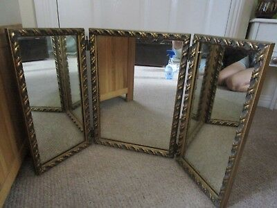 Large Vintage 3 Way Dressing Table Mirror