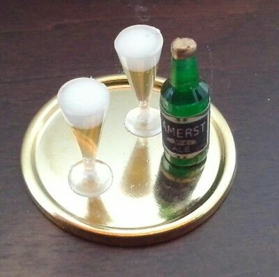 MINIATURE DOLLHOUSE 1:12 SCALE FILLED BEER GLASSES 2 PCS. A4036B