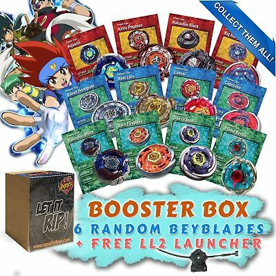 Beyblade Random Starter 6 Pack w/ Free BB-87 LL2 Launcher & Free Bey Card Gift