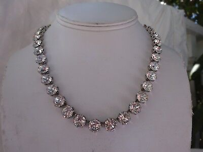 Stunning VTG Silver Metal Prong Set Graduated Round Cut Rhinestone Necklace 16""