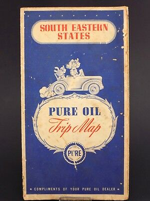 Vintage PURE OIL Gas & Oil Co. Service Station Road Map SOUTH EASTERN STATES