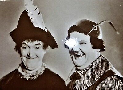 Original 1980's  Postcard  of Hollywood Legends Laurel and Hardy