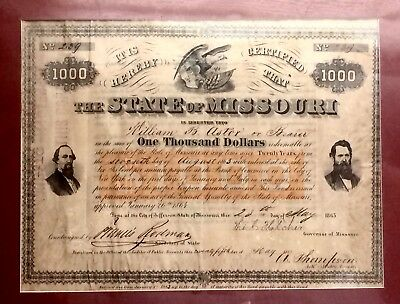 1865 State Of Missouri One Thousand Dollars Bond