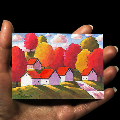 """ORIGINAL HAND PAINTING DRAWING FOLK ART WATERCOLOR PICTURE ACEO """"Landscape"""""""