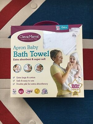 Clevamama White Hooded Baby Bath Towel 80 x 70. Baby Shower Gift
