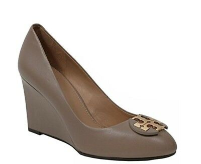 da9cca6b5043 Tory Burch shoes sandals wedges Luna 85MM leather gold logo wedges french  grey 8