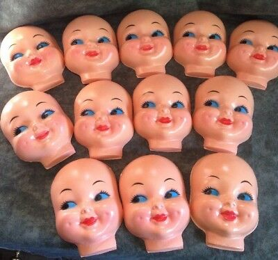 "Lot of 12 creepy goth craft vintage retro 50's cutie kewpie doll face 4"" NOS"