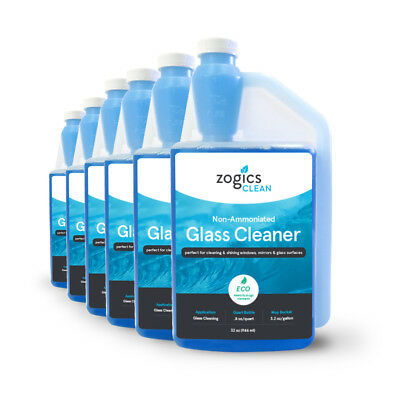 Zogics Non-Ammoniated Glass Cleaner Concentrate, Case of 6 - 32 oz Bottles
