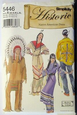 Simplicity 5446 Sewing Pattern Misses Mens Native American Costumes Uncut