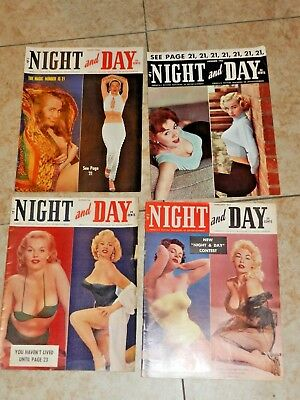 4 VINTAGE MEN'S MAGAZINES NIGHT and DAY 1955 1956 1957  lot of 4
