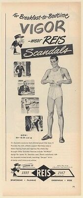 1947 Reis Scandals Men Underwear Breakfast to Bedtime Vigor Print Ad