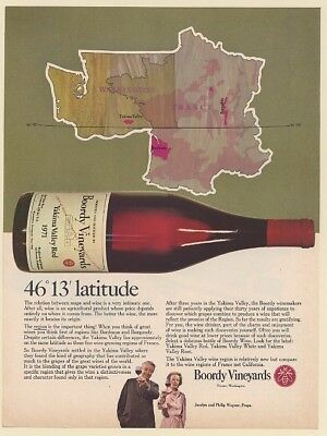 1973 Boordy Vineyards Wine 46 13 Latitude Map Print Ad